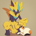 cat closed_mouth commentary_request furry gen_7_pokemon highres mythical_pokemon nata_de_coco_(pankptomato) pokemon pokemon_(creature) shiny smile spread_legs squatting toes yellow_fur zeraora
