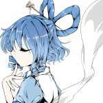 1girl bangs blue_dress closed_eyes closed_mouth commentary_request creepingbarrett dress drill_hair drill_locks eyebrows_visible_through_hair finger_to_mouth from_side hagoromo hair_ornament hair_rings hair_stick hand_up highres kaku_seiga profile puffy_short_sleeves puffy_sleeves shawl short_hair short_sleeves simple_background solo touhou twin_drills upper_body vest white_background white_vest