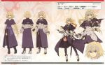 1girl absurdres artbook blonde_hair blue_eyes braid character_profile character_sheet fate/apocrypha fate_(series) gauntlets headpiece highres jeanne_d'arc_(fate) jeanne_d'arc_(fate)_(all) long_hair multiple_views official_art scan serious single_braid sword thigh-highs turnaround variations very_long_hair weapon