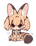 1girl :3 =3 absurdres animal_ear_fluff animal_ears bangs black_eyes blonde_hair bow bowtie chibi extra_ears gloves hair_between_eyes highres kemono_friends looking_at_viewer notora print_gloves print_neckwear print_skirt serval_(kemono_friends) serval_print short_hair simple_background sitting skirt smile solo striped_tail tail white_background