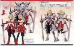 1girl absurdres armor artbook blonde_hair character_name character_profile character_sheet detached_sleeves fate/apocrypha fate_(series) full_armor high_heels highres horns konoe_ototsugu mordred_(fate) multiple_views official_art page_number scan sidelocks sword turnaround variations weapon