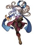 1girl absurdres bangs belt bird black_gloves black_legwear blue_scarf book book_hug boots dress elbow_gloves fingerless_gloves fire_emblem fire_emblem:_radiant_dawn foreshortening gloves hair_ribbon half_updo highres holding holding_book leg_up long_hair looking_at_viewer micaiah_(fire_emblem) outstretched_arm pantyhose ribbon sbql_(niaunclefan) scarf serious side_slit silver_hair simple_background sleeveless sleeveless_dress solo sparkle white_background yellow_eyes yune_(fire_emblem)