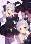 1girl :o animal_ear_fluff animal_ears bangs black_choker black_dress black_panties black_ribbon blush breasts brown_eyes cat_ears cat_girl cat_tail choker closed_mouth commentary criss-cross_halter dress frilled_choker frilled_dress frilled_ribbon frilled_sleeves frills hair_ribbon halter_dress halterneck hand_up highres hololive long_hair long_sleeves looking_at_viewer multiple_views murasaki_shion open_mouth panties panties_under_pantyhose pantyhose ribbon saki_(saki_paint) silver_hair standing tail tail_ornament tail_ribbon underwear virtual_youtuber wide_sleeves