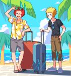 2boys afro beach belt black-framed_eyewear black_footwear black_shirt blonde_hair blue_eyes brown_belt brown_pants buttons capri_pants clouds collared_shirt commentary_request day flint_(pokemon) floral_print grey_shorts holding kurochiroko looking_up male_focus multiple_boys one_eye_closed open_mouth outdoors palm_tree pants pokemon pokemon_(game) pokemon_dppt redhead sand sandals shirt shoes shore short_sleeves shorts sky spiky_hair standing suitcase sunglasses t-shirt teeth toes tongue tree tropical upper_teeth volkner_(pokemon) water