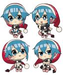 +_+ 1girl :3 :d bangs black_capelet blue_eyes blue_hair book capelet chibi doremy_sweet dress expressions eyebrows_visible_through_hair full_body hat highres holding holding_book multiple_views nightcap open_mouth pink_footwear pom_pom_(clothes) pout red_headwear sakaki_(utigi) saliva saliva_trail short_hair simple_background smile standing tail tapir_tail touhou white_background white_dress