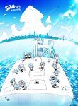 >_< :d aircraft airplane blue_sky bridge city clouds fisheye highres inkling jellyfish landscape ocean open_mouth pointing running shaking sitting sky smile splatoon_(series) splatoon_1 squid standing sunlight xd yoshida_inuhito