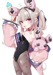 1girl absurdres animal_ears bangs bare_shoulders black_hairband blue_ribbon blunt_bangs blush breasts brown_legwear collar commentary_request covered_navel eyebrows_visible_through_hair fake_animal_ears fang flat_chest grey_hair hair_ribbon hairband highres holding holding_stuffed_toy kio_(yumekuikio) looking_at_viewer makaino_ririmu multicolored_hair nijisanji open_mouth pink_eyes playboy_bunny pointy_ears print_legwear rabbit_ears red_collar redhead ribbon simple_background sleeves_past_fingers sleeves_past_wrists small_breasts solo standing stuffed_animal stuffed_bunny stuffed_toy sweatdrop twintails two-tone_hair virtual_youtuber white_background