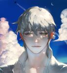 1boy aircraft airplane black_sclera blue_sky closed_mouth clouds colored_sclera condensation_trail crescent_moon ear_piercing earrings grey_eyes grey_hair hair_between_eyes jewelry light_smile looking_at_viewer male_focus moon original piercing pigeon666 portrait shirt short_hair sky smile solo white_shirt
