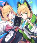 2girls absurdres blonde_hair blue_archive blush cat_ear_headphones commentary_request green_eyes hair_ribbon halo headphones highres jacket looking_at_viewer makina9696 midori_(blue_archive) momoi_(blue_archive) multiple_girls necktie open_mouth red_eyes ribbon school_uniform siblings simple_background stylus tablet translation_request twins