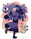 1girl :d @_@ absurdres book dress fangs gastly gen_1_pokemon gen_7_pokemon hex_maniac_(pokemon) highres leg_up looking_at_viewer mimikyu musical_note open_mouth pleated_dress pokemon pokemon_(creature) pokemon_(game) pokemon_xy purple_hair rariatto_(ganguri) school_uniform shoes smile socks spoken_musical_note standing standing_on_one_leg twitter_username violet_eyes wavy_hair