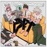 1girl 2boys :o ahoge album_cover alternate_costume animal_ears bangs barefoot black_pants bow breast_pocket brown_eyes brown_hair brown_skirt buttons cable collared_shirt commentary_request controller copyright_name cosplay couch cover dangan_ronpa_(series) dangan_ronpa_2:_goodbye_despair diaper double-breasted ear_bow fake_animal_ears flipped_hair game_console game_controller game_cover green_jacket green_neckwear grey_hair halftone halftone_background handheld_game_console hands_up highres hinata_hajime holding holding_controller holding_phone hood hood_up jacket jacket_removed komaeda_nagito long_sleeves lying medium_hair miniskirt monokuma monomi_(dangan_ronpa) monomi_(dangan_ronpa)_(cosplay) multiple_boys nanami_chiaki necktie no_shoes number on_couch orange_bow pants phone pillow pink_hair playing_games playstation_controller playstation_portable pocket print_shirt rabbit_ears shirt short_hair short_sleeves skirt smile speech_bubble tege_(tege_xxx) thigh-highs white_shirt