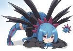 1girl bangs blue_footwear blue_gloves blue_hair blue_skirt blush boots chibi chibi_inset commentary_request gen_5_pokemon gloves hair_between_eyes hair_ornament hydreigon jack-o'_challenge long_hair maks_(makusu_210) open_mouth personification pokemon shiny shiny_hair skirt thigh-highs thigh_boots tongue violet_eyes