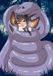 1girl anchor_symbol arbok bangs black_hair blush bound breath commission constriction crossover forest gen_1_pokemon grey_hair hat highres iori_4kagetsu kantai_collection mini_hat multicolored_hair nature open_mouth outdoors pokemon pokemon_(creature) short_hair_with_long_locks skeb_commission tokitsukaze_(kancolle) tongue tree violet_eyes