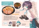 2boys ahoge androgynous apron bandana bangs black_hair blue_hair bowl braid chibi closed_eyes commentary cup english_commentary english_text eyebrows_visible_through_hair food genshin_impact gradient_hair green_eyes halfboiled_egg heart highres holding holding_tray looking_at_viewer male_focus meat miso_soup multicolored_hair multiple_boys musical_note noodles open_mouth pink_background ramen short_hair_with_long_locks sidelocks simple_background smile soup spring_onion tray twin_braids twitter_username venti_(genshin_impact) waist_apron white_background xiao_(genshin_impact) yellow_eyes yue_yue1102