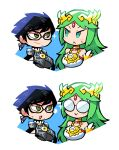 >:) 2girls :< :d bayonetta bayonetta_(series) bayonetta_2 bespectacled black-framed_eyewear black_hair blush_stickers closed_mouth crown earrings eye_contact forehead_jewel glasses green_eyes green_hair halftone highres jewelry kid_icarus long_hair looking_at_another lying mole mole_under_mouth multiple_girls on_back open_mouth palutena rariatto_(ganguri) round_eyewear short_hair smile super_smash_bros. sweat v-shaped_eyebrows