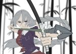 1girl arrow_(projectile) asymmetrical_clothes bamboo bamboo_forest blue_dress blue_eyes bow_(weapon) breasts commentary constellation_print dress forest hair_between_eyes headwear_removed highres large_breasts long_hair nature otomeza_ryuseigun red_dress silver_hair solo touhou weapon yagokoro_eirin