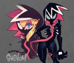 1girl absurdres black_bodysuit blonde_hair blue_eyes bodysuit claws contrapposto gwen_stacy half_mask hand_on_hip highres long_tongue looking_at_viewer marvel mask multiple_views projected_inset rariatto_(ganguri) she-venom signature spider-man_(series) spiky_hair symbiote tongue very_long_tongue