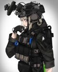 1girl absurdres backpack bag bulletproof_vest camouflage_print candy cat cigarette_candy emblem fanny_pack food gloves helmet highres magazine_(weapon) military military_operator night_vision_device original pz-15 solo tactical_clothes tattoo watch watch