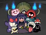 ... 1girl @_@ ahoge blush_stickers boo_(mario) closed_eyes crossover donkey_kong_(series) donkey_kong_country_2 dress dusk_ball gen_1_pokemon gengar ghost grin hairband hex_maniac_(pokemon) highres hitodama holding holding_poke_ball kirby's_dream_land kirby_(series) kloak kneeling looking_at_viewer super_mario_bros. metroid multiple_crossover mumbies_(kirby) musical_note open_mouth phantoon poke_ball pokemon pokemon_(creature) pokemon_(game) pokemon_rgby pokemon_tower_ghost pokemon_xy purple_hair rariatto_(ganguri) red_eyes ribbed_sweater sharp_teeth smile speech_bubble spoken_musical_note super_mario_bros. super_mario_bros._3 super_metroid sweater teeth the_legend_of_zelda the_legend_of_zelda:_link's_awakening tongue tongue_out trait_connection v violet_eyes