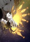 1girl absurdres bangs black_dress blunt_bangs butterfly_wings claws closed_mouth colored_skin dress fewer_digits highres horns joints long_hair looking_at_viewer negative_space no_feet okame_nin original solo white_dress white_hair white_skin wings yellow_eyes yellow_wings zoom_layer