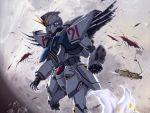 damage f91_gundam gundam gundam_f91 mecha moon