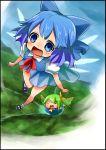 2girls blue_eyes blue_hair border bow cirno daiyousei flying hair_bow multiple_girls sasoribi-dekine short_hair touhou wings