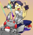 eye_beam glasses holding holding_poke_ball magnemite male mechanization mikami nintendo npc_(pokemon) pikachu poke_ball pokemon pokemon_(game) pokemon_gsc rainbow remote_control robot super_nerd super_nerd_(pokemon) voltorb