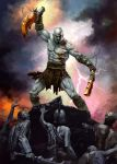 blade chain chains denchi epic god_of_war helmet kratos male manly mythology pale_skin solo sword tattoo undead weapon zombie