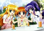 absurdres ahoge arisa_bannings bag blonde_hair blue_eyes blush brown_hair casual cloud clouds dress drink food green_eyes highres ice_cream long_hair mahou_shoujo_lyrical_nanoha multiple_girls open_mouth popsicle purple_hair purse shaved_ice sky takamachi_nanoha tsukimura_suzuka twintails very_long_hair