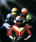 1girl 4boys aka_ranger ao_ranger blue female green helmet himitsu_sentai_goranger ki_ranger male mido_ranger momo_ranger multiple_boys pink pose red sentai super_sentai yellow
