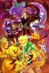 black_hair blonde_hair electabuzz golbat highres holding holding_poke_ball holding_spoon kadabra kyou_(pokemon) long_hair machisu_(pokemon) natsume_(pokemon) nidoking poke_ball pokemon pokemon_special sakaki_(pokemon) shinoasa spoon team_rocket waist_poke_ball