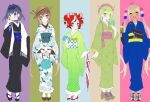 5girls :d absurdres alternate_hair_length alternate_hairstyle animal_ears animal_on_head antlers asymmetrical_hair bag bangs belt beret black_footwear black_hair black_kimono blonde_hair blue_bow blue_eyes blue_hair blue_kimono blue_sweater blush boots bow braid branch brown_belt brown_eyes brown_footwear brown_hair brown_headwear bubble_tea ceres_fauna chiyomaru_(yumichiyo0606) closed_mouth closed_umbrella coin_purse commentary cross-laced_footwear crossed_bangs cup double_bun drink drinking_straw earrings english_commentary eyebrows_visible_through_hair fanny_pack floral_print flower french_braid full_body geta green_hair green_kimono hair_between_eyes hair_bow hair_bun hair_flower hair_intakes hair_ornament hakos_baelz hand_on_own_face handbag hat hat_feather headpiece high_heel_boots high_heels highres holding holding_cup holding_drink holding_umbrella holocouncil hololive hololive_english japanese_clothes jewelry kimono light_green_hair long_hair looking_at_viewer medium_hair mole mole_under_eye mouse_ears mouse_on_head mr._squeaks_(hakos_baelz) multicolored_hair multiple_girls nanashi_mumei necklace obi okobo on_head open_mouth orange_eyes ouro_kronii panels parted_lips pearl_necklace pink_headwear planet_hair_ornament platform_footwear polka_dot polka_dot_kimono red_footwear redhead ribbed_sweater sakuramon sash scarf shirt shoes short_hair simple_background smile sneakers standing streaked_hair striped striped_legwear striped_shirt sweater tabi tsukumo_sana turtleneck turtleneck_sweater twintails umbrella vertical-striped_kimono vertical_stripes virtual_youtuber watch watch white_belt white_footwear white_hair white_kimono white_legwear white_scarf wide_sleeves yellow_bow yellow_eyes yukata
