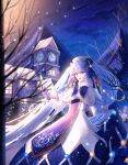 1girl absurdly_long_hair bangs blue_eyes blue_gloves blue_hair blue_neckwear blue_skirt capelet coat coat_dress eyebrows_visible_through_hair gloves hair_between_eyes hair_ornament hat hatsune_miku highres long_hair long_skirt long_sleeves musical_note_hair_ornament night open_mouth outdoors pleated_skirt skirt skirt_hold snowing solo theazureciel twintails very_long_hair vocaloid white_capelet white_coat white_headwear winter yuki_miku