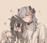 2girls ajiajia1104 alternate_hairstyle arknights black_choker braid brown_background brown_hair brown_sweater cellphone choker closed_mouth commentary_request dragon_horns ear_clip eyebrows_visible_through_hair feather_hair hair_bun hand_on_another's_shoulder highres holding holding_phone horns long_hair long_sleeves looking_at_viewer medium_hair multiple_girls orange_eyes orange_nails phone saria_(arknights) silence_(arknights) silver_hair simple_background single_braid sleeves_past_wrists smartphone sparkle sweater taking_picture upper_body