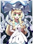 1girl :d absurdres arms_behind_back bangs blonde_hair blunt_bangs border braid collarbone collared_dress commentary_request dress duplicate eyelashes gen_7_pokemon green_eyes highres ink lillie_(pokemon) long_hair looking_at_viewer nihilego on_head open_mouth outside_border pixel-perfect_duplicate pokemon pokemon_(creature) pokemon_(game) pokemon_on_head pokemon_sm shabana_may sleeveless sleeveless_dress smile sundress tongue twin_braids ultra_beast upper_teeth white_border white_dress