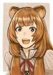 1girl animal_ear_fluff animal_ears brown_hair eyebrows_visible_through_hair highres long_hair looking_at_viewer open_mouth raccoon_ears raccoon_girl raphtalia riku_(ukir125) smile solo tate_no_yuusha_no_nariagari