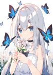 1girl angel angel_wings bare_shoulders black_collar blue_butterfly blue_eyes blush bow bowtie bug butterfly collar eyebrows_visible_through_hair feathered_wings flower grey_hair highres holding holding_flower insect lily_(flower) long_hair original solo upper_body wings zoirun