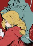 1boy 1girl alphonse_elric armor blonde_hair blush braid closed_mouth coat commentary edward_elric english_commentary from_side full_armor fullmetal_alchemist gloves highres hood hood_down hooded_coat own_hands_together palms_together plume profile red_background red_coat sanpaku shoulder_spikes signature simple_background single_braid sparrowl spikes white_gloves yellow_eyes