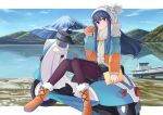 1girl absurdres bangs blue_hair boots border closed_mouth coat cup day eyebrows_visible_through_hair fur-trimmed_boots fur_trim ground_vehicle hat highres holding holding_cup knit_hat lake leggings long_hair long_sleeves looking_at_viewer motor_vehicle mount_fuji mountainous_horizon outdoors outside_border pinky_out pleated_skirt scarf scooter shima_rin sidelocks sitting skirt smile solo violet_eyes wen_hao_lai white_border winter_clothes winter_coat yurucamp