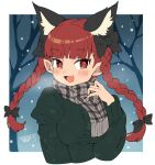 1girl animal_ear_fluff animal_ears bangs black_bow blunt_bangs blush bow braid breasts cat_ears cropped_torso dated extra_ears eyebrows_visible_through_hair fang fingernails green_sweater hair_bow hand_up iroyopon kaenbyou_rin long_hair long_sleeves looking_at_viewer medium_breasts open_mouth original plaid plaid_scarf pointy_ears red_eyes red_nails redhead scarf sharp_fingernails signature smile snowing solo sweater tree twin_braids twintails upper_body very_long_fingernails winter_clothes