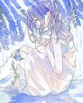 1girl aspara bare_arms barefoot blue_butterfly blue_flower blue_hair bug butterfly commentary_request dress flower flower_request from_side highres insect long_hair original profile rain sitting solo tears white_dress