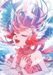 1girl animal_ears ayasaka_saaya bare_shoulders bird_ears blue_background blue_feathers blue_nails blush choker closed_eyes commentary_request fingernails harpy highres long_fingernails long_hair monster_girl music open_mouth original red_choker red_feathers redhead singing solo winged_arms wings