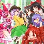 6+girls \n/ alcohol animal_ears animal_hands bangs beer beer_can bell black_dress black_eyes black_hair black_headwear black_jacket black_leotard black_skirt blue_hair boots bow bowtie breasts brown_footwear can cat_ears cat_girl character_request closed_mouth commentary_request cookie_(touhou) copyright_request crab detached_sleeves dress dress_bow eyebrows_visible_through_hair fang foot_out_of_frame formal frilled_bow frilled_shirt_collar frilled_skirt frilled_sleeves frills green_background green_eyes green_skirt grey_hair hair_between_eyes hair_bow hakurei_reimu high_heels highres holding holding_wand jacket jingle_bell kneehighs komeiji_koishi leotard leotard_under_clothes long_hair long_sleeves looking_at_viewer magical_girl medium_breasts medium_hair minigirl multiple_girls multiple_persona office_lady one_eye_closed open_mouth otemoto_(baaaaloooo) pink_hair pink_skirt purple_background red_bow red_eyes red_footwear red_neckwear redhead ribbon-trimmed_sleeves ribbon_trim sananana_(cookie) shirt short_hair skirt sleeveless sleeveless_dress smile suit touhou w wand white_legwear white_shirt white_sleeves wide_sleeves wings yellow_eyes yellow_neckwear yellow_shirt