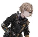1girl bangs black_eyes commentary_request girls'_frontline hair_ornament hairclip heterochromia highres light_brown_hair looking_at_viewer mg338_(girls'_frontline) qiujiao short_hair solo tactical_clothes upper_body white_background white_eyes