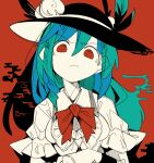 1girl black_headwear blue_eyes blue_hair bow bowtie breasts bright_pupils closed_mouth collared_shirt ears_visible_through_hair eyebrows_visible_through_hair food frilled_sleeves frills frown fruit hair_between_eyes hand_up hat hat_ribbon hatching_(texture) high_contrast hinanawi_tenshi leaf limited_palette linear_hatching long_hair looking_at_viewer massakasama medium_breasts partially_unbuttoned peach red_background red_bow red_eyes ribbon see-through_sleeves shirt short_sleeves smoke solo straight-on touhou upper_body v-shaped_eyebrows white_pupils white_shirt wing_collar