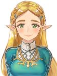 1girl blonde_hair breasts closed_mouth green_eyes hair_ornament hairclip long_hair looking_at_viewer nyantiu pointy_ears princess_zelda simple_background smile solo the_legend_of_zelda the_legend_of_zelda:_breath_of_the_wild white_background