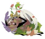1girl :3 aegislash annoyed apios1 arm_up bangs bare_shoulders black_sclera bob_cut brick_wall bright_pupils bush colored_sclera colored_skin commentary crown day dress eevee elbow_gloves flat_chest floating flower from_behind full_body gardevoir gen_1_pokemon gen_2_pokemon gen_3_pokemon gen_6_pokemon gloves grass green_hair half-closed_eyes happy highres holding holding_flower leaf legs_together looking_at_another looking_down mega_gardevoir mega_pokemon moss on_wall one-eyed open_mouth outdoors outstretched_arm parted_lips petals pokemon pokemon_(creature) red_eyes red_flower shield short_hair sitting sketch smile strapless strapless_dress sunkern sword violet_eyes weapon white_dress white_gloves white_pupils white_skin yellow_headwear yokozuwari