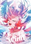 1girl animal_ears ayasaka_saaya bare_shoulders bird_ears blue_background blue_feathers blue_nails blush choker closed_eyes commentary_request copyright_name fingernails harpy highres long_fingernails long_hair monster_girl music open_mouth original red_choker red_feathers redhead singing solo winged_arms wings