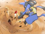clenched_teeth commentary day do9bessa english_commentary gen_4_pokemon gen_7_pokemon kicking lucario no_humans outdoors palossand pokemon pokemon_(creature) red_eyes sand sand_castle sand_sculpture teeth toes