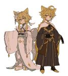 1boy 1girl adapted_costume aether_(genshin_impact) ahoge animal_ears bangs black_gloves blonde_hair braid brother_and_sister cape closed_mouth flower genshin_impact gloves hair_between_eyes hair_flower hair_ornament iwashi_(iwashi008) japanese_clothes long_hair long_sleeves lumine_(genshin_impact) obi sash short_hair_with_long_locks siblings simple_background single_braid standing white_background white_flower wide_sleeves yellow_eyes